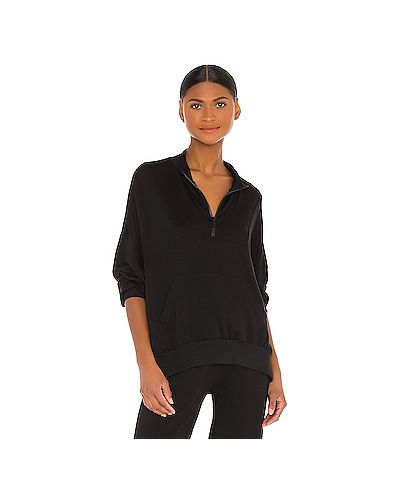 Шелковый черный свитер на молнии с карманами Lna