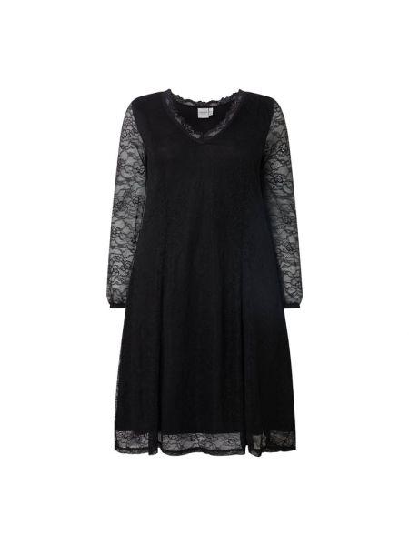 Czarna sukienka rozkloszowana koronkowa Junarose