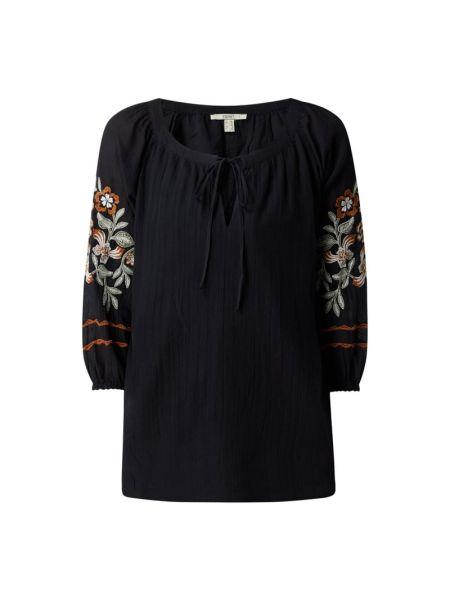Czarna bluzka bawełniana z wiązaniami Esprit