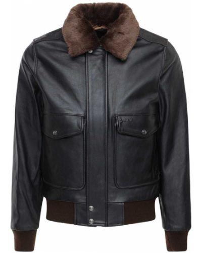 Кожаная куртка с заплатками - коричневая Schott
