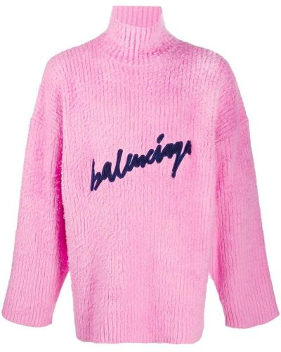 Bawełna trykotowy różowy skoczek z długimi rękawami Balenciaga