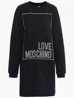 Хлопковое платье мини - черное Love Moschino
