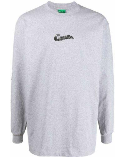 Prążkowany t-shirt bawełniany z printem Carrots
