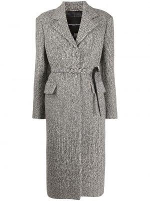 Шерстяное черное длинное пальто на пуговицах Ermanno Scervino