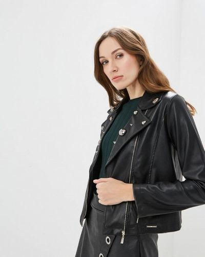 Кожаная куртка весенняя черная Hellen Barrett