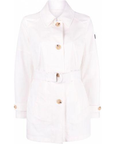 Ватная белая длинная куртка с воротником Peuterey