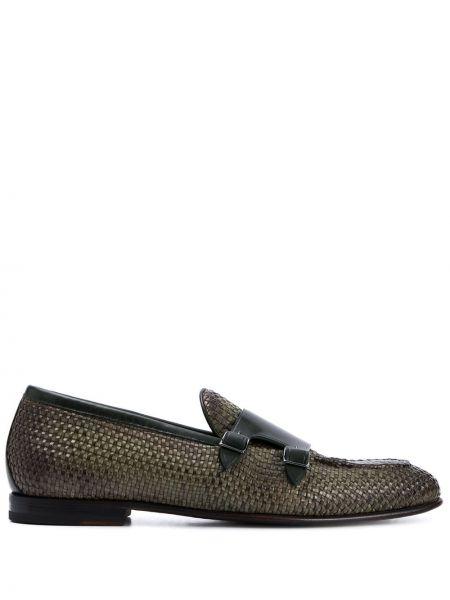 Зеленые туфли с пряжкой на плоской подошве Silvano Sassetti