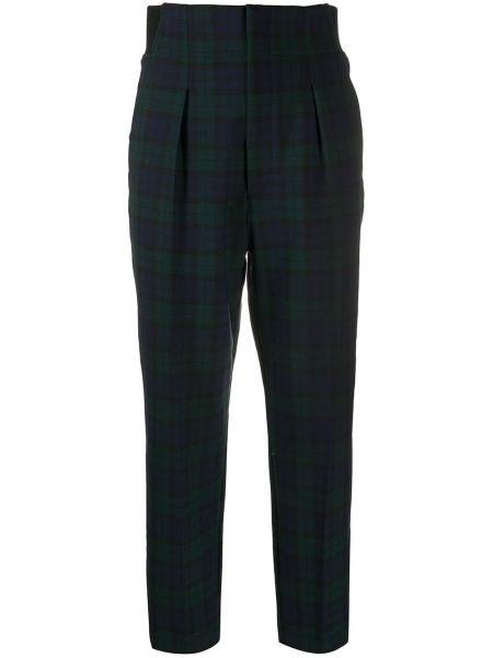 Синие шерстяные брюки с высокой посадкой с потайной застежкой Barena
