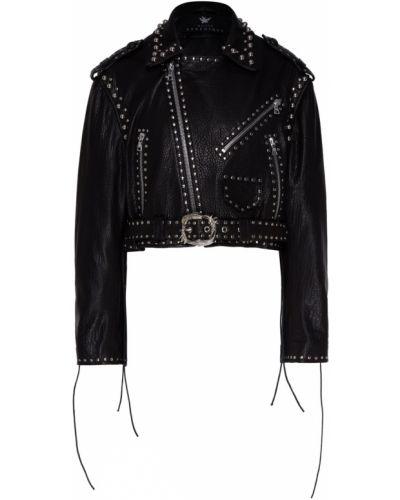 Черная кожаная куртка с поясом Maison Bohemique