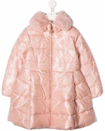 Розовое длинное пальто из искусственного меха с воротником Abel & Lula