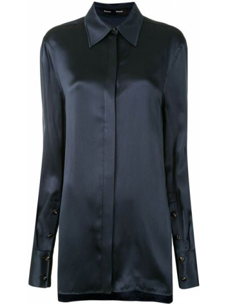 Синяя с рукавами классическая рубашка с воротником Proenza Schouler