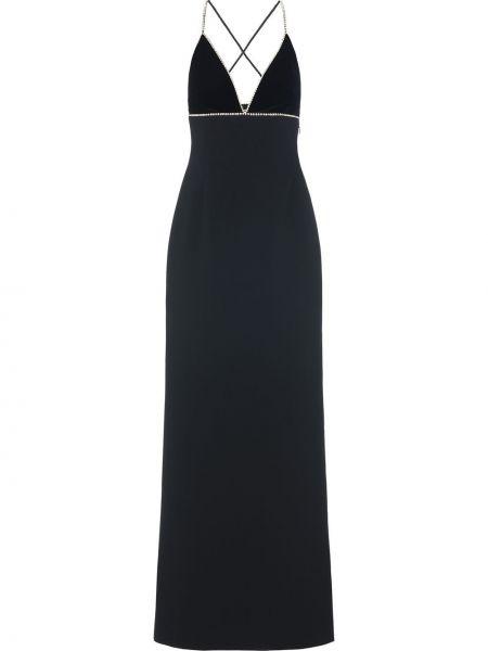Черное платье с V-образным вырезом без рукавов на молнии Miu Miu