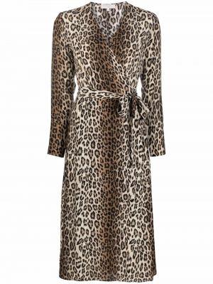 Brązowa sukienka rozkloszowana z długimi rękawami Antonelli