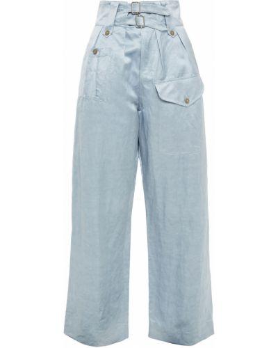Синие льняные брюки с поясом Paul Smith