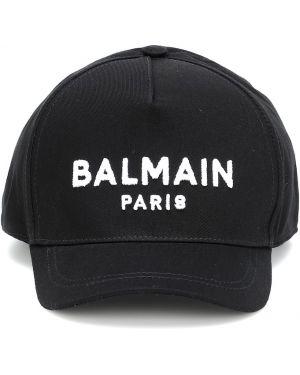 Хлопковая бейсбольная черная бейсболка Balmain Kids