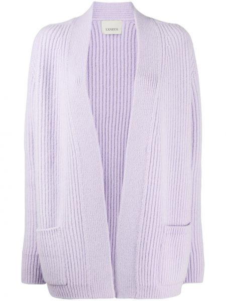 Прямое фиолетовое шерстяное пальто Laneus