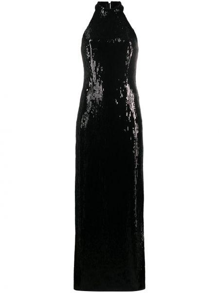 Черное платье с пайетками с вырезом на молнии Galvan