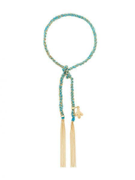 Шелковый бирюзовый золотой браслет Carolina Bucci