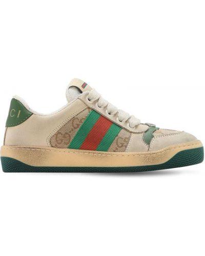 Beżowy ażurowy brezentowy sneakersy na sznurowadłach Gucci