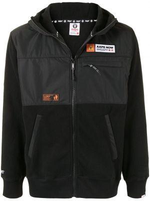 С рукавами черная длинная куртка с капюшоном Aape By A Bathing Ape