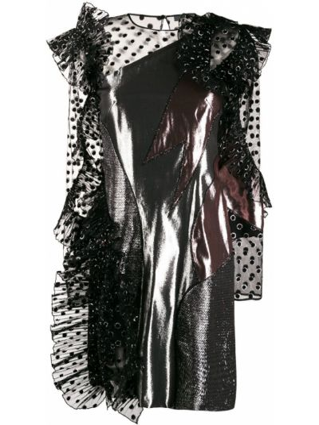 Шелковое платье макси - серебряное Alberta Ferretti