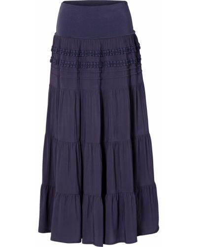 Синяя плиссированная юбка мини с оборками Bonprix