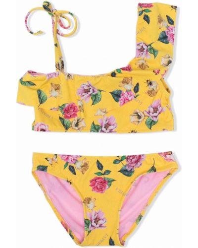 Żółty bikini w kwiaty z printem La Perla Kids