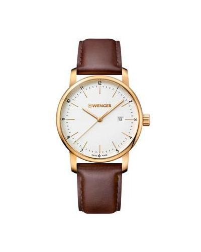 Часы на кожаном ремешке кварцевые швейцарские с люминесцентными стрелками Wenger