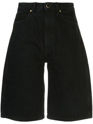 Классические свободные черные джинсовые шорты со стразами Khaite