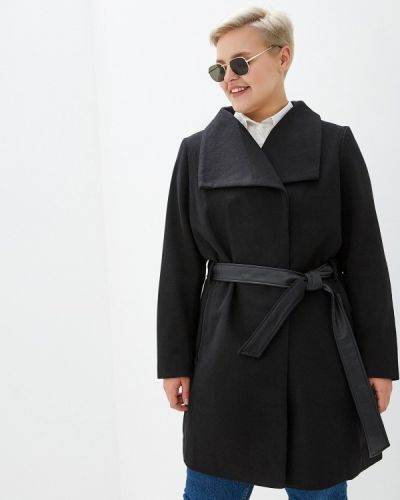 Черное пальто с капюшоном Junarose