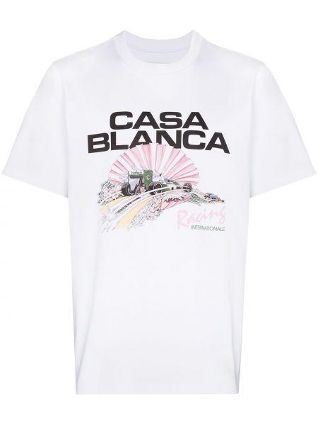 Футболка с принтом - белая Casablanca