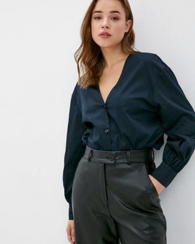 С рукавами синяя блузка Y.o.u.