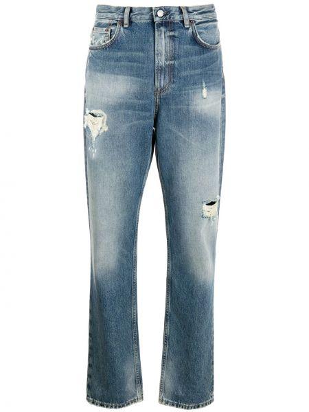 Klasyczny bawełna niebieski jeansy o prostym kroju z kieszeniami Acne Studios