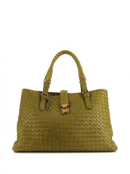 Кожаная зеленая сумка с ручками круглая с подвесками Bottega Veneta Pre-owned