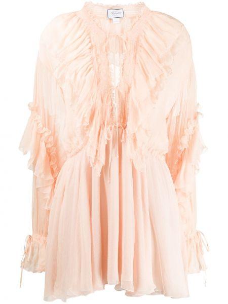 Шелковое приталенное платье мини с оборками на шнурках Redemption