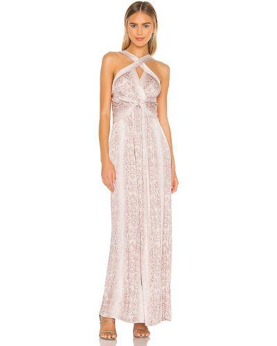 Satynowa różowa sukienka długa Bcbgmaxazria