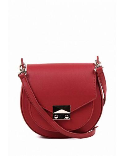 Кожаная красная сумка через плечо медведково