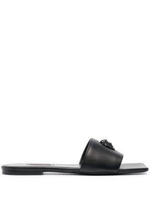 Кожаные шлепанцы - черные Versace