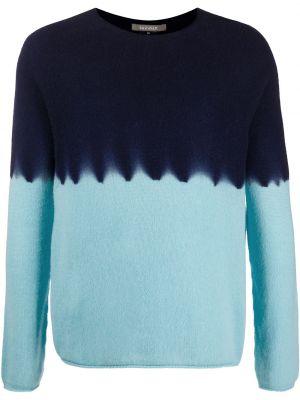 Кашемировый синий свитер свободного кроя с вырезом Suzusan