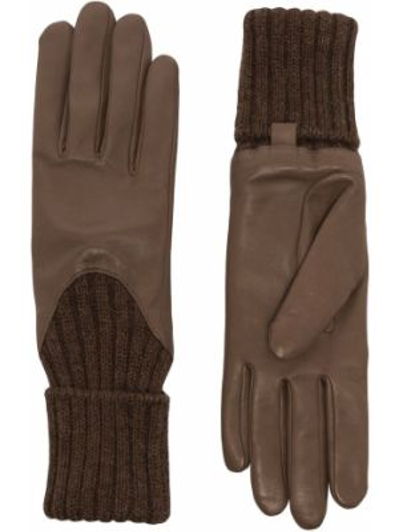 Бежевые теплые кожаные перчатки из альпаки Agnelle