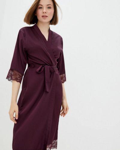 Бордовый ажурный домашний халат Mianagreen