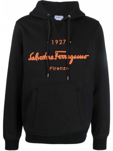 Czarna bluza długa z kapturem z długimi rękawami Salvatore Ferragamo