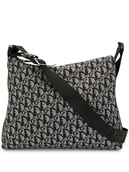 Czarny torba kosmetyczna z płótna z łatami prążkowany Christian Dior