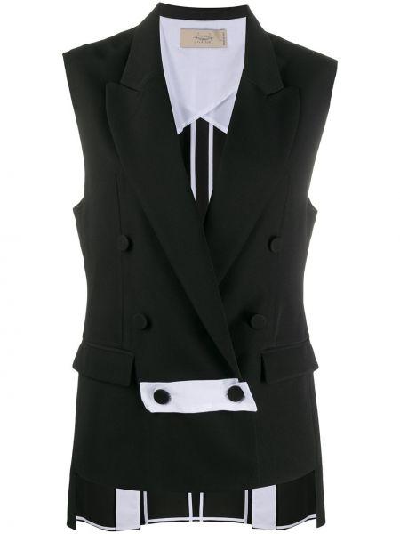 Черный пиджак двубортный без рукавов Maison Flaneur