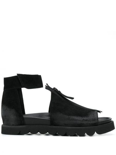 Кожаные черные сандалии на каблуке с открытым носком Rundholz