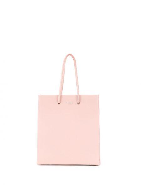 Кожаная розовая сумка-тоут круглая Medea