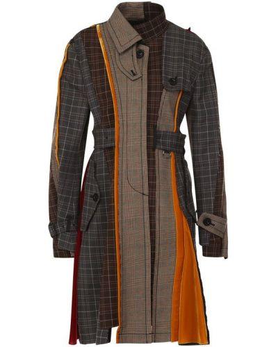 Пальто классическое в клетку со вставками Sacai