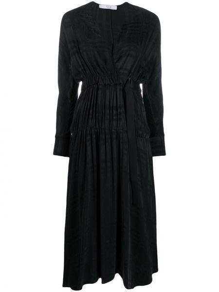 Черное платье миди с запахом со складками из вискозы Tela