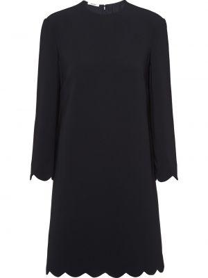 Czarna sukienka mini z długimi rękawami z wiskozy Miu Miu