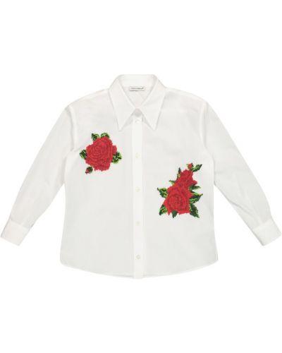 Хлопковая рубашка - белая Dolce & Gabbana Kids
